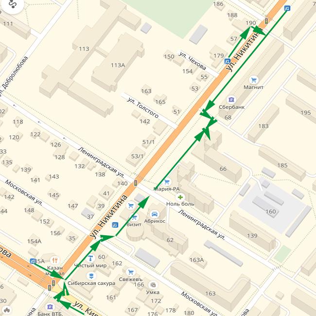 Безопасный маршрут на ул. Никитина 66